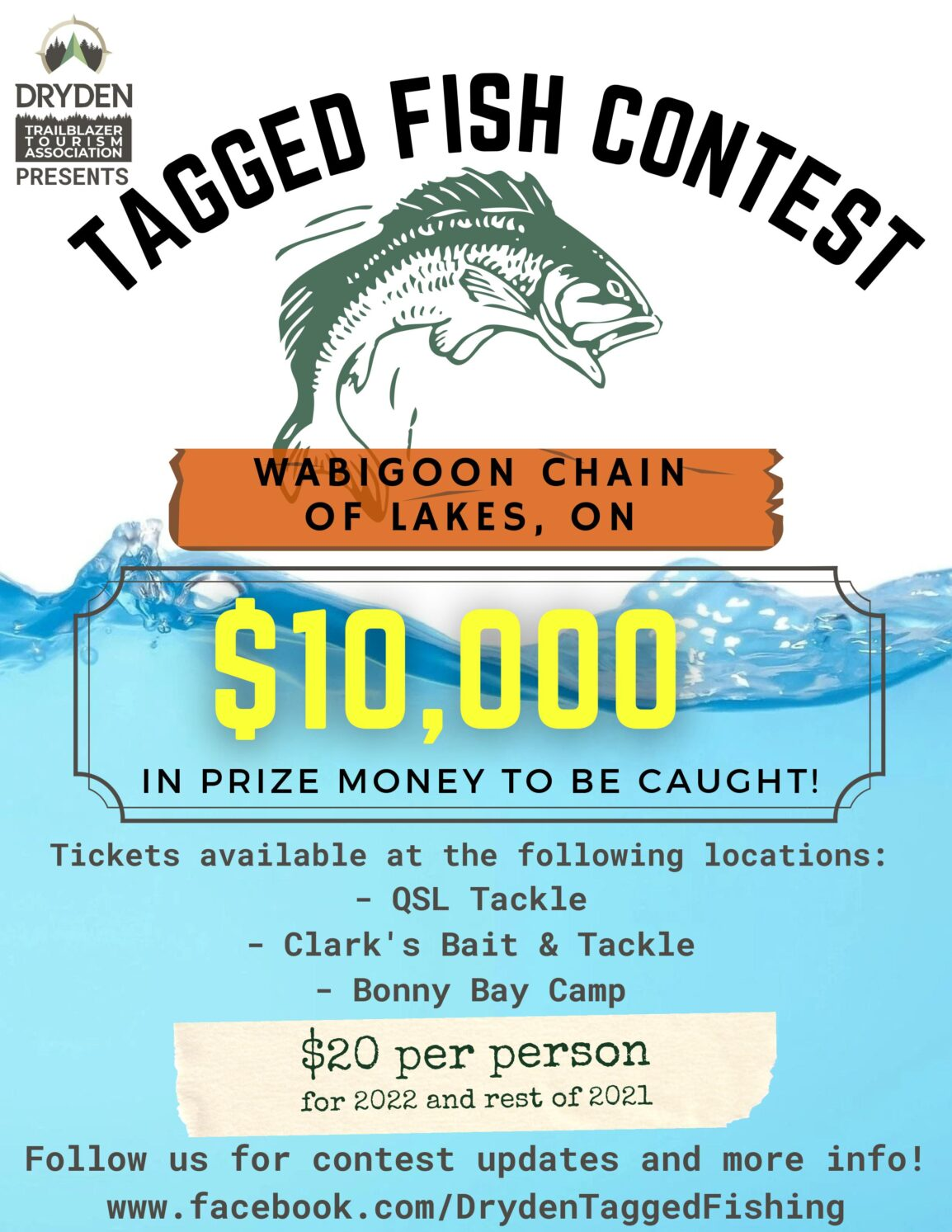 Tagged fish contest. 10000 dollars in prize money to be caught!